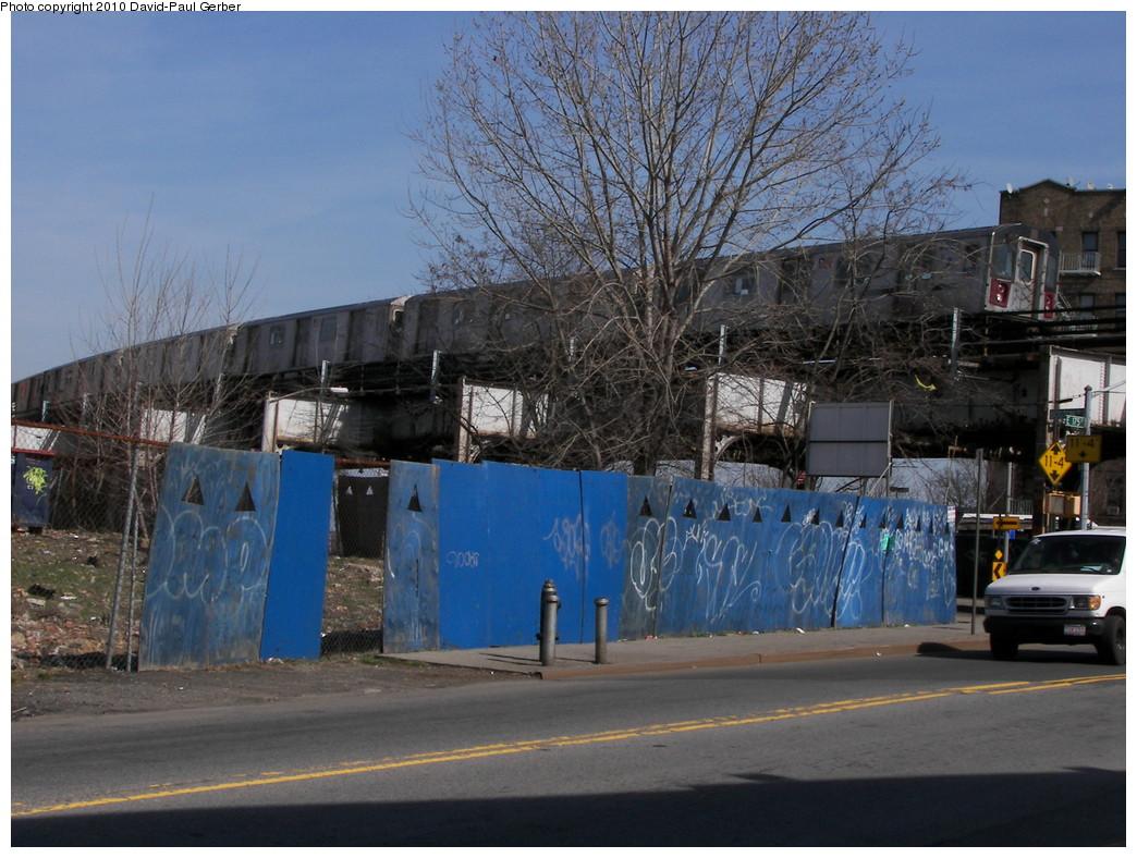 (294k, 1044x788)<br><b>Country:</b> United States<br><b>City:</b> New York<br><b>System:</b> New York City Transit<br><b>Line:</b> IRT White Plains Road Line<br><b>Location:</b> West Farms Sq./East Tremont Ave./177th St. <br><b>Route:</b> 2/5<br><b>Car:</b> R-142 (Primary Order, Bombardier, 1999-2002)  6596 <br><b>Photo by:</b> David-Paul Gerber<br><b>Date:</b> 3/20/2010<br><b>Notes:</b> On East 176th Street near Boston Road, Manhattan-bound train<br><b>Viewed (this week/total):</b> 5 / 1414
