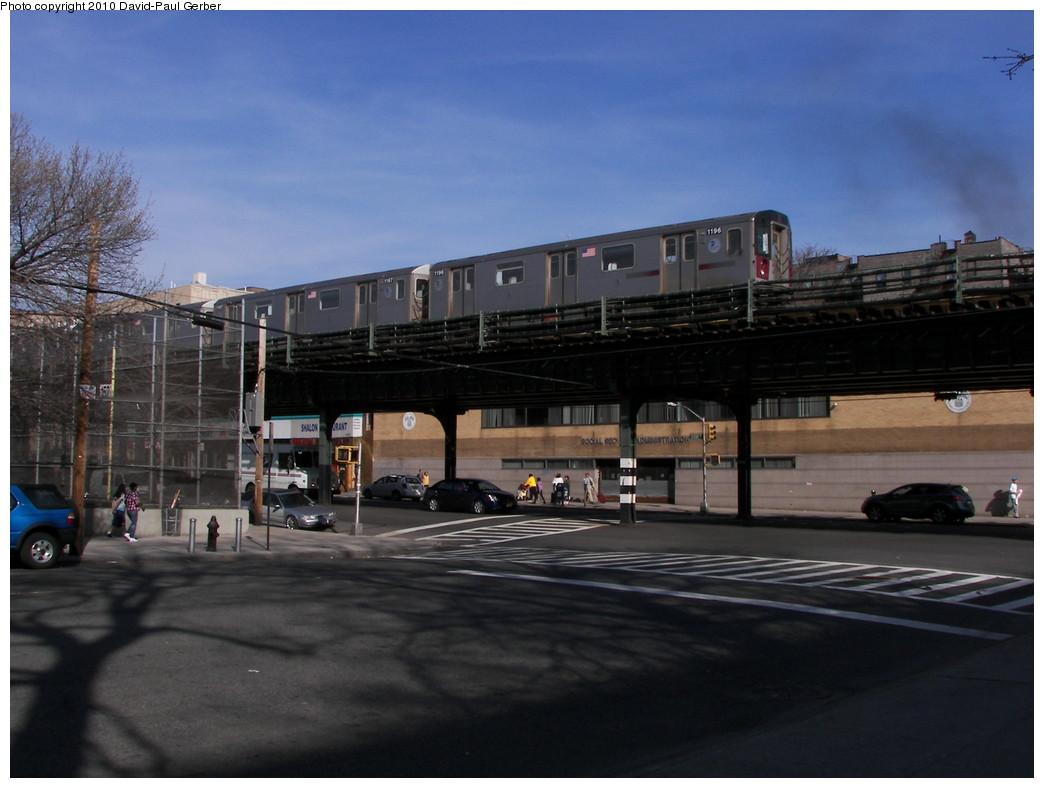 (230k, 1044x788)<br><b>Country:</b> United States<br><b>City:</b> New York<br><b>System:</b> New York City Transit<br><b>Line:</b> IRT Woodlawn Line<br><b>Location:</b> Kingsbridge Road <br><b>Route:</b> 4<br><b>Car:</b> R-142 (Option Order, Bombardier, 2002-2003)  1196 <br><b>Photo by:</b> David-Paul Gerber<br><b>Date:</b> 3/20/2010<br><b>Notes:</b> Jerome Ave and West 196th Street (north of Kingsbridge armory).   Manhattan-bound train<br><b>Viewed (this week/total):</b> 0 / 1796