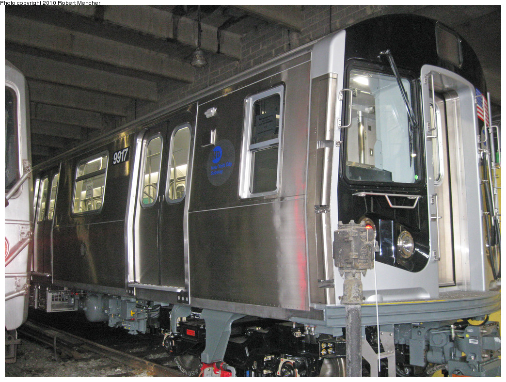(312k, 1044x788)<br><b>Country:</b> United States<br><b>City:</b> New York<br><b>System:</b> New York City Transit<br><b>Location:</b> Pitkin Yard/Shops<br><b>Car:</b> R-160B (Option 2) (Kawasaki, 2009)  9917 <br><b>Photo by:</b> Robert Mencher<br><b>Date:</b> 3/31/2010<br><b>Viewed (this week/total):</b> 0 / 2280