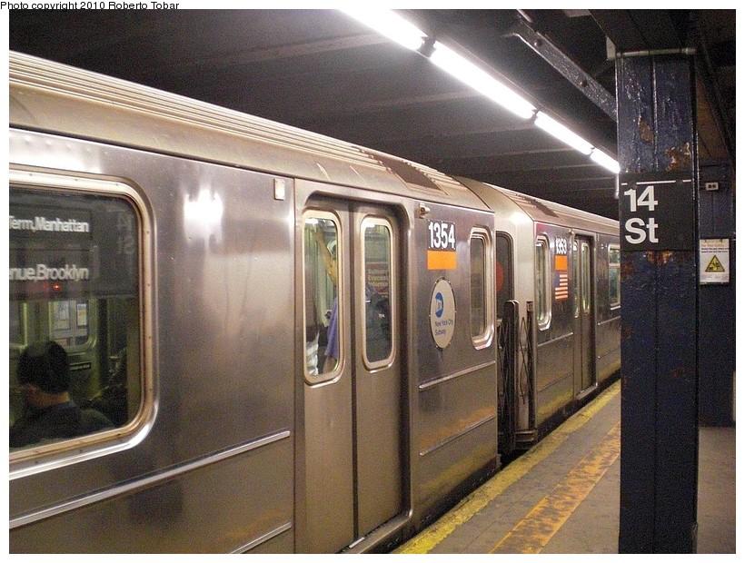 (213k, 820x620)<br><b>Country:</b> United States<br><b>City:</b> New York<br><b>System:</b> New York City Transit<br><b>Line:</b> IRT West Side Line<br><b>Location:</b> 14th Street <br><b>Route:</b> 3<br><b>Car:</b> R-62 (Kawasaki, 1983-1985)  1354 <br><b>Photo by:</b> Roberto C. Tobar<br><b>Date:</b> 3/19/2010<br><b>Viewed (this week/total):</b> 0 / 1517