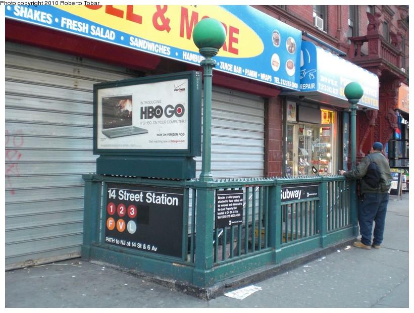 (190k, 820x620)<br><b>Country:</b> United States<br><b>City:</b> New York<br><b>System:</b> New York City Transit<br><b>Line:</b> IRT West Side Line<br><b>Location:</b> 14th Street <br><b>Photo by:</b> Roberto C. Tobar<br><b>Date:</b> 3/19/2010<br><b>Notes:</b> Station entrance.<br><b>Viewed (this week/total):</b> 0 / 1850