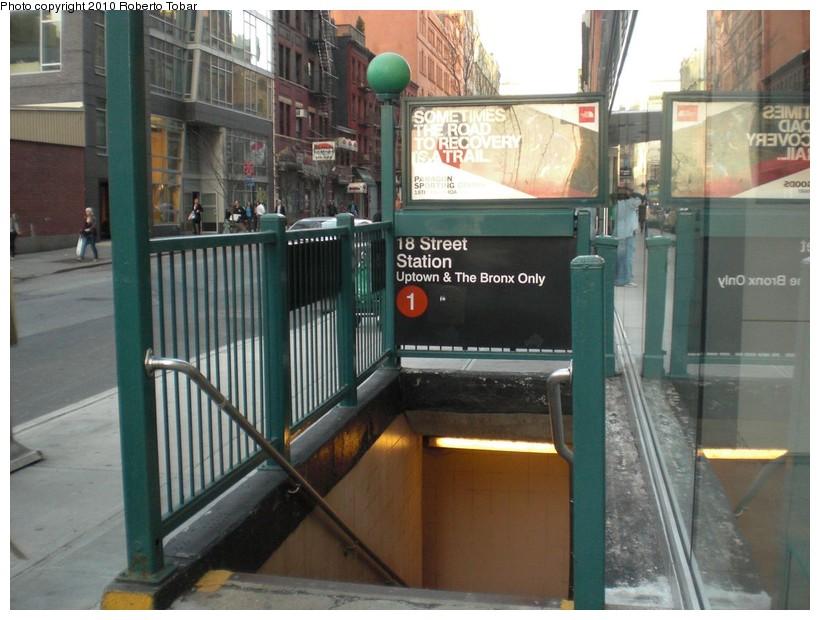 (168k, 820x620)<br><b>Country:</b> United States<br><b>City:</b> New York<br><b>System:</b> New York City Transit<br><b>Line:</b> IRT West Side Line<br><b>Location:</b> 18th Street <br><b>Photo by:</b> Roberto C. Tobar<br><b>Date:</b> 3/19/2010<br><b>Notes:</b> Station entrance.<br><b>Viewed (this week/total):</b> 1 / 1590