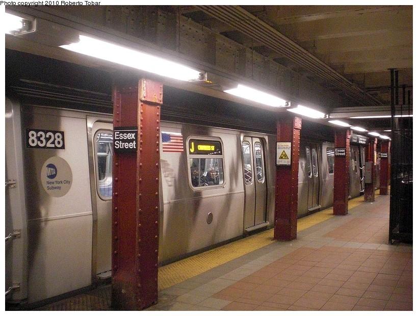 (209k, 820x620)<br><b>Country:</b> United States<br><b>City:</b> New York<br><b>System:</b> New York City Transit<br><b>Line:</b> BMT Nassau Street/Jamaica Line<br><b>Location:</b> Essex Street <br><b>Route:</b> J<br><b>Car:</b> R-160A-1 (Alstom, 2005-2008, 4 car sets)  8328 <br><b>Photo by:</b> Roberto C. Tobar<br><b>Date:</b> 3/27/2010<br><b>Viewed (this week/total):</b> 1 / 1144