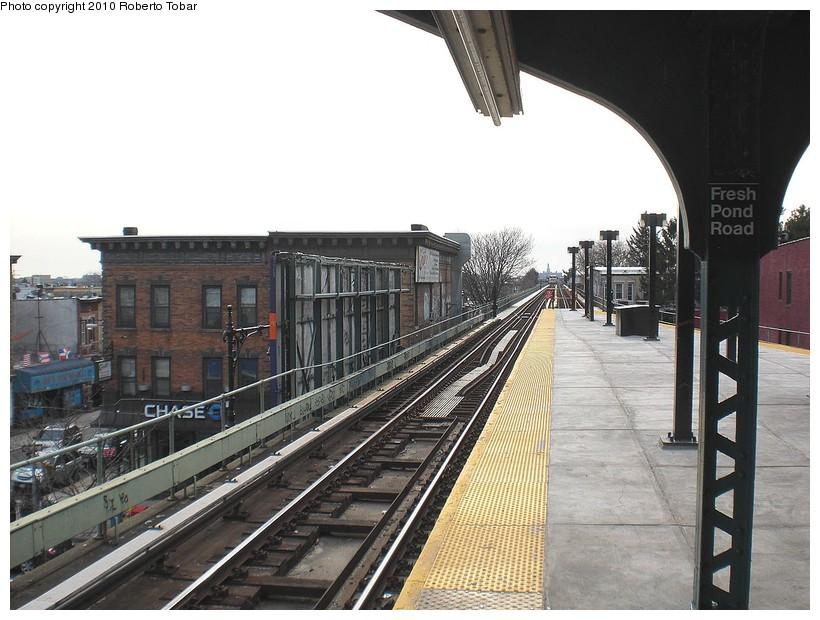 (179k, 820x620)<br><b>Country:</b> United States<br><b>City:</b> New York<br><b>System:</b> New York City Transit<br><b>Line:</b> BMT Myrtle Avenue Line<br><b>Location:</b> Fresh Pond Road <br><b>Photo by:</b> Roberto C. Tobar<br><b>Date:</b> 3/27/2010<br><b>Notes:</b> Platform view.<br><b>Viewed (this week/total):</b> 1 / 1177