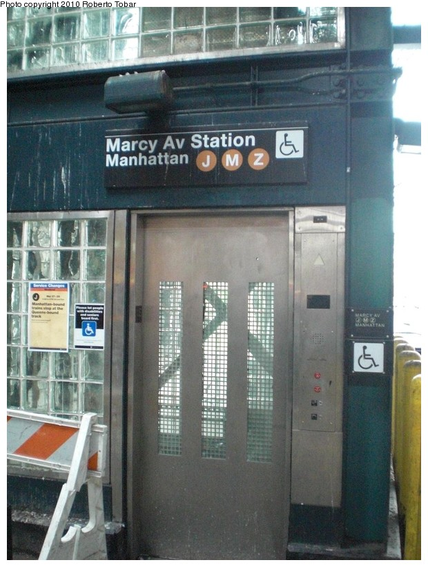 (180k, 620x820)<br><b>Country:</b> United States<br><b>City:</b> New York<br><b>System:</b> New York City Transit<br><b>Line:</b> BMT Nassau Street/Jamaica Line<br><b>Location:</b> Marcy Avenue <br><b>Photo by:</b> Roberto C. Tobar<br><b>Date:</b> 3/27/2010<br><b>Notes:</b> Newish elevator at Marcy Ave.<br><b>Viewed (this week/total):</b> 0 / 1159