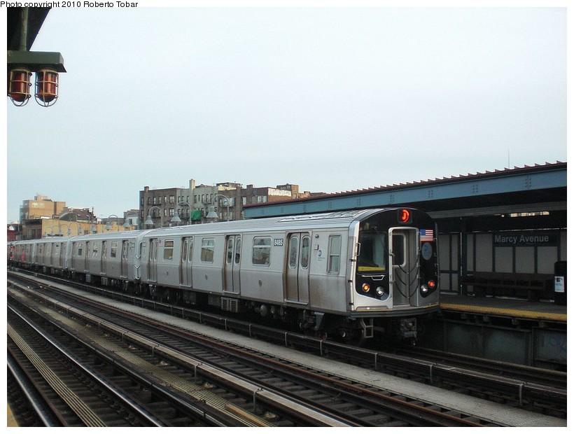 (158k, 820x620)<br><b>Country:</b> United States<br><b>City:</b> New York<br><b>System:</b> New York City Transit<br><b>Line:</b> BMT Nassau Street/Jamaica Line<br><b>Location:</b> Marcy Avenue <br><b>Route:</b> J<br><b>Car:</b> R-160A-1 (Alstom, 2005-2008, 4 car sets)  8485 <br><b>Photo by:</b> Roberto C. Tobar<br><b>Date:</b> 3/27/2010<br><b>Viewed (this week/total):</b> 0 / 823