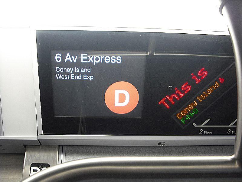 (74k, 800x600)<br><b>Country:</b> United States<br><b>City:</b> New York<br><b>System:</b> New York City Transit<br><b>Route:</b> D<br><b>Car:</b> R-160A/R-160B Series (Number Unknown) Interior <br><b>Photo by:</b> Alize Jarrett<br><b>Date:</b> 2/26/2010<br><b>Notes:</b> FIND for D trains.<br><b>Viewed (this week/total):</b> 0 / 1342