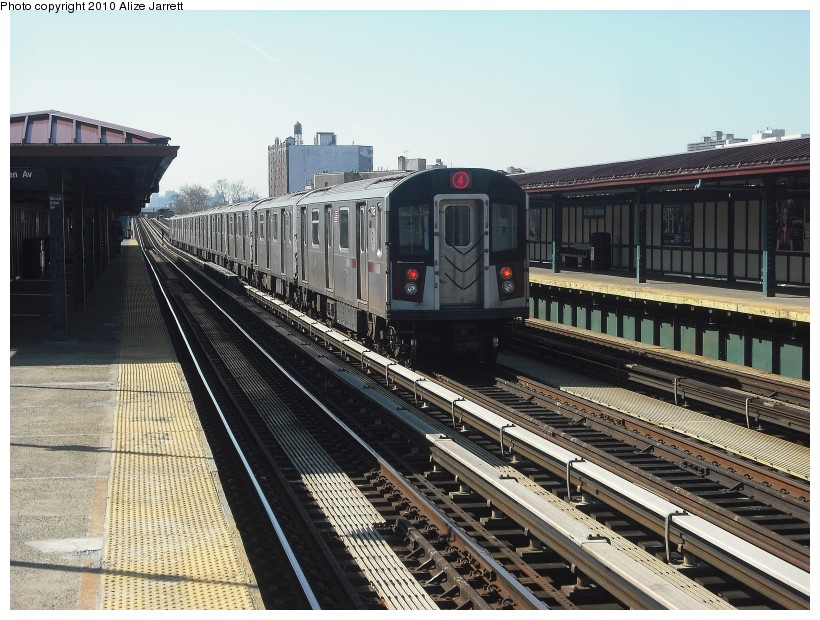 (163k, 820x620)<br><b>Country:</b> United States<br><b>City:</b> New York<br><b>System:</b> New York City Transit<br><b>Line:</b> IRT Woodlawn Line<br><b>Location:</b> Mt. Eden Avenue <br><b>Route:</b> 4<br><b>Car:</b> R-142 or R-142A (Number Unknown)  <br><b>Photo by:</b> Alize Jarrett<br><b>Date:</b> 3/7/2010<br><b>Viewed (this week/total):</b> 0 / 970