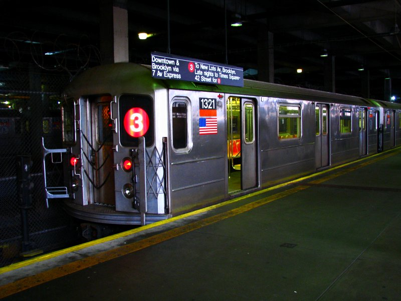 (96k, 800x600)<br><b>Country:</b> United States<br><b>City:</b> New York<br><b>System:</b> New York City Transit<br><b>Line:</b> IRT Lenox Line<br><b>Location:</b> 148th Street/Lenox Terminal <br><b>Route:</b> 3<br><b>Car:</b> R-62 (Kawasaki, 1983-1985)  1321 <br><b>Photo by:</b> Bill E.<br><b>Date:</b> 2/19/2010<br><b>Viewed (this week/total):</b> 7 / 2424