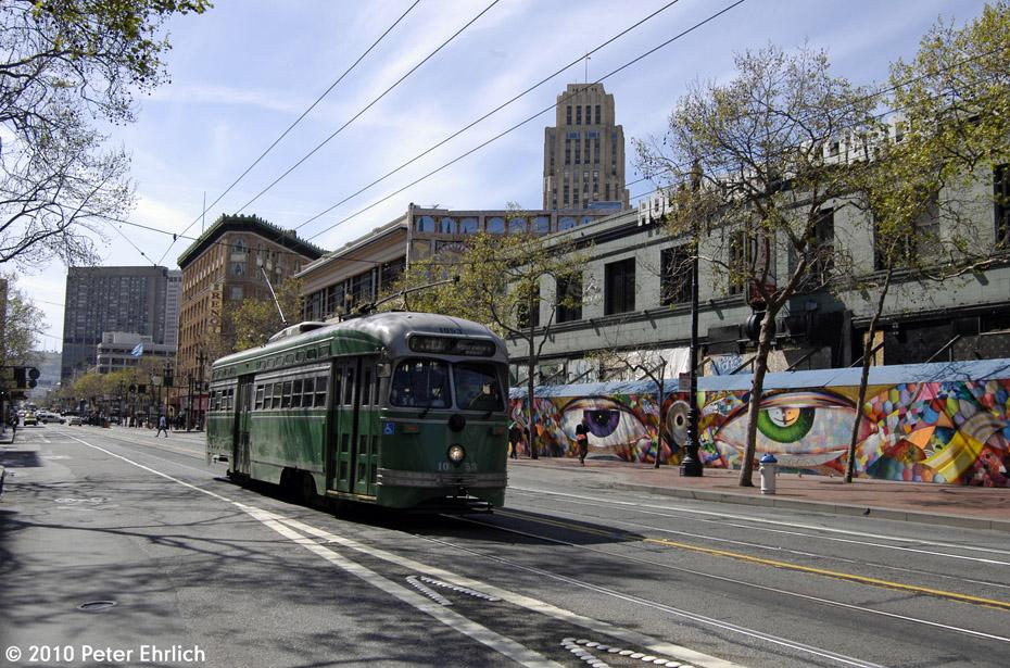 (260k, 930x615)<br><b>Country:</b> United States<br><b>City:</b> San Francisco/Bay Area, CA<br><b>System:</b> SF MUNI<br><b>Location:</b> Market/6th/Taylor <br><b>Car:</b> SF MUNI PCC (Ex-SEPTA) (St. Louis Car Co., 1947-1948)  1053 <br><b>Photo by:</b> Peter Ehrlich<br><b>Date:</b> 3/11/2010<br><b>Notes:</b> Inbound.<br><b>Viewed (this week/total):</b> 0 / 327