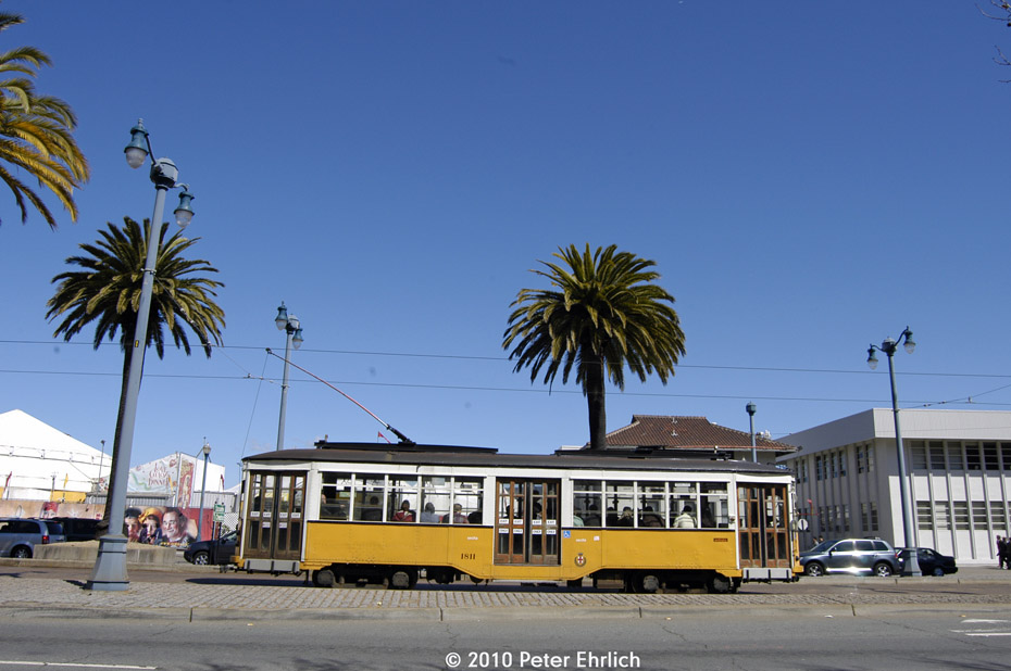 (152k, 930x618)<br><b>Country:</b> United States<br><b>City:</b> San Francisco/Bay Area, CA<br><b>System:</b> SF MUNI<br><b>Location:</b> Embarcadero/Sansome <br><b>Car:</b> Milan Milano/Peter Witt (1927-1930)  1811 <br><b>Photo by:</b> Peter Ehrlich<br><b>Date:</b> 3/13/2010<br><b>Notes:</b> Outbound.<br><b>Viewed (this week/total):</b> 2 / 249