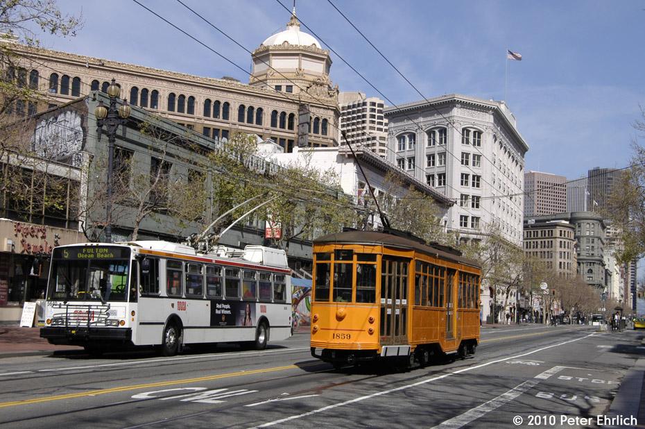(250k, 930x618)<br><b>Country:</b> United States<br><b>City:</b> San Francisco/Bay Area, CA<br><b>System:</b> SF MUNI<br><b>Location:</b> Market/Jones<br><b>Car:</b> Milan Milano/Peter Witt (1927-1930) 1859 <br><b>Photo by:</b> Peter Ehrlich<br><b>Date:</b> 3/11/2010<br><b>Notes:</b> Inbound.<br><b>Viewed (this week/total):</b> 0 / 335