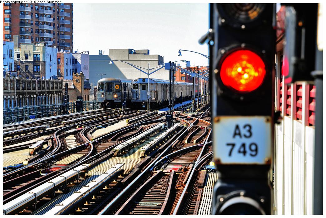 (369k, 1044x700)<br><b>Country:</b> United States<br><b>City:</b> New York<br><b>System:</b> New York City Transit<br><b>Line:</b> BMT Brighton Line<br><b>Location:</b> Brighton Beach <br><b>Route:</b> Q<br><b>Car:</b> R-68A (Kawasaki, 1988-1989)  5042 <br><b>Photo by:</b> Zach Summer<br><b>Date:</b> 3/9/2010<br><b>Notes:</b> With an R32 B Layup<br><b>Viewed (this week/total):</b> 1 / 1729