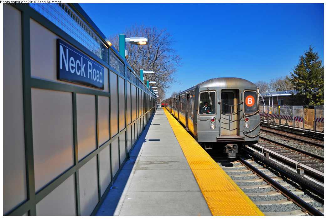 (266k, 1044x700)<br><b>Country:</b> United States<br><b>City:</b> New York<br><b>System:</b> New York City Transit<br><b>Line:</b> BMT Brighton Line<br><b>Location:</b> Neck Road <br><b>Route:</b> B<br><b>Car:</b> R-68A (Kawasaki, 1988-1989)  5136 <br><b>Photo by:</b> Zach Summer<br><b>Date:</b> 3/9/2010<br><b>Notes:</b> Newly reconstructed Coney Island-bound side.<br><b>Viewed (this week/total):</b> 3 / 1696