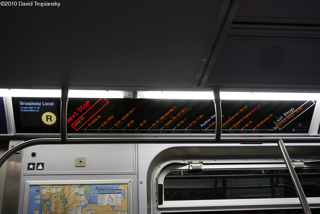 (171k, 1024x683)<br><b>Country:</b> United States<br><b>City:</b> New York<br><b>System:</b> New York City Transit<br><b>Route:</b> R<br><b>Car:</b> R-160A (Option 1) (Alstom, 2008-2009, 5 car sets)  Interior <br><b>Photo by:</b> David Tropiansky<br><b>Date:</b> 4/3/2010<br><b>Notes:</b> Northbound R FIND Display<br><b>Viewed (this week/total):</b> 0 / 1395