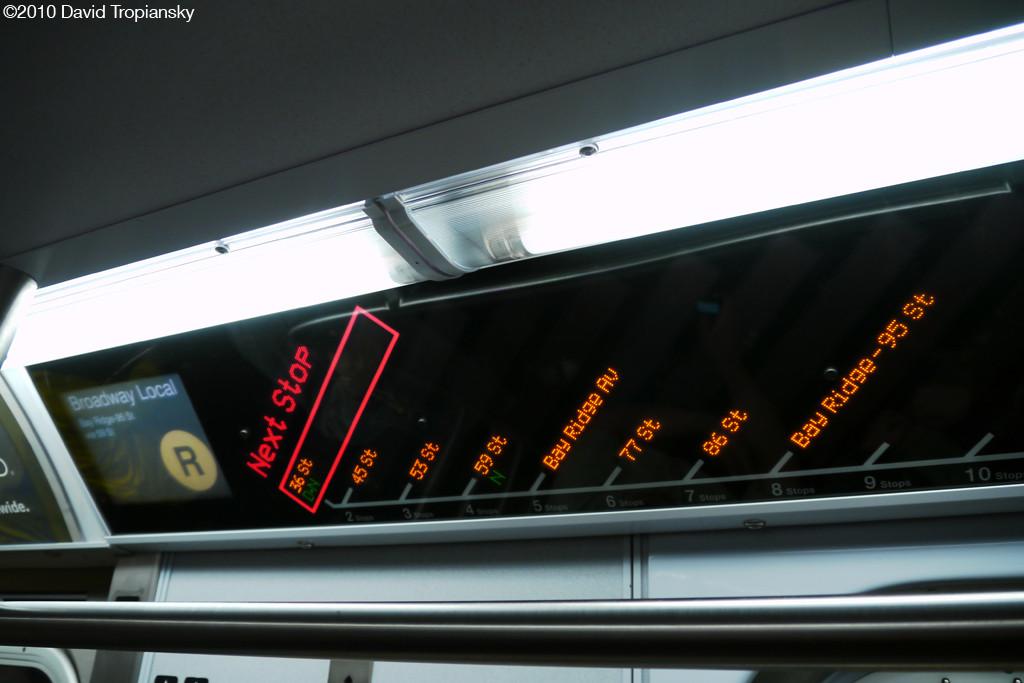 (164k, 1024x683)<br><b>Country:</b> United States<br><b>City:</b> New York<br><b>System:</b> New York City Transit<br><b>Route:</b> R<br><b>Car:</b> R-160A (Option 1) (Alstom, 2008-2009, 5 car sets)  Interior <br><b>Photo by:</b> David Tropiansky<br><b>Date:</b> 4/3/2010<br><b>Notes:</b> Southbound R FIND Display<br><b>Viewed (this week/total):</b> 1 / 1159