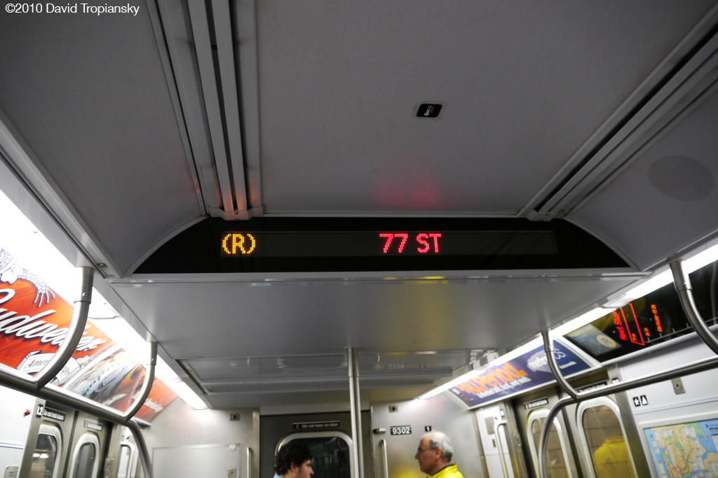 (181k, 1024x683)<br><b>Country:</b> United States<br><b>City:</b> New York<br><b>System:</b> New York City Transit<br><b>Route:</b> R<br><b>Car:</b> R-160A (Option 1) (Alstom, 2008-2009, 5 car sets)  Interior <br><b>Photo by:</b> David Tropiansky<br><b>Date:</b> 4/3/2010<br><b>Notes:</b> R160 R Display sign.<br><b>Viewed (this week/total):</b> 0 / 1176