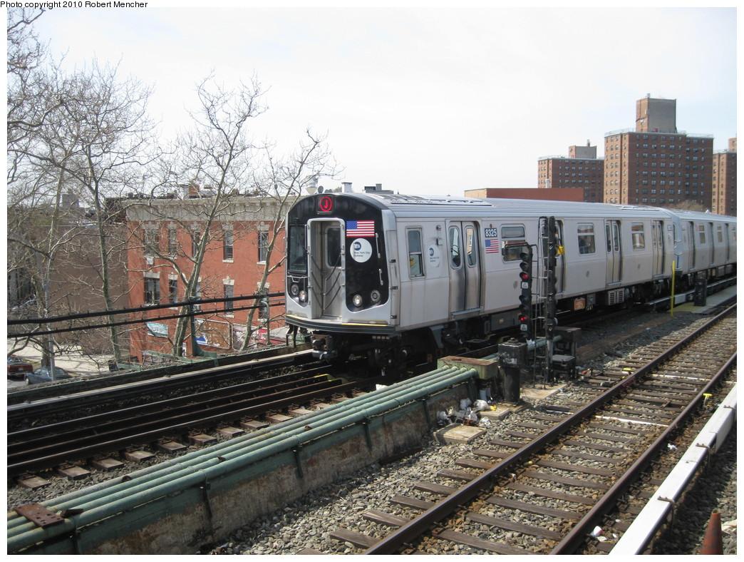 (285k, 1044x788)<br><b>Country:</b> United States<br><b>City:</b> New York<br><b>System:</b> New York City Transit<br><b>Line:</b> BMT Nassau Street/Jamaica Line<br><b>Location:</b> Broadway/East New York (Broadway Junction) <br><b>Route:</b> J<br><b>Car:</b> R-160A-1 (Alstom, 2005-2008, 4 car sets)  8325 <br><b>Photo by:</b> Robert Mencher<br><b>Date:</b> 4/3/2010<br><b>Viewed (this week/total):</b> 0 / 760