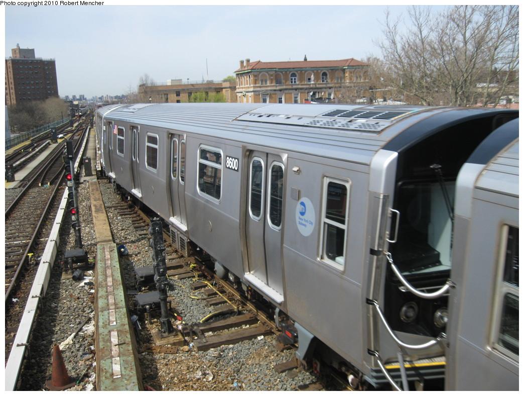 (249k, 1044x788)<br><b>Country:</b> United States<br><b>City:</b> New York<br><b>System:</b> New York City Transit<br><b>Line:</b> BMT Nassau Street/Jamaica Line<br><b>Location:</b> Broadway/East New York (Broadway Junction) <br><b>Route:</b> J<br><b>Car:</b> R-160A-1 (Alstom, 2005-2008, 4 car sets)  8600 <br><b>Photo by:</b> Robert Mencher<br><b>Date:</b> 4/3/2010<br><b>Viewed (this week/total):</b> 0 / 930