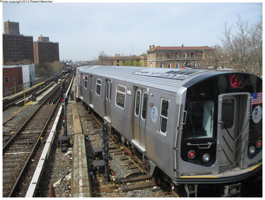 (252k, 1044x788)<br><b>Country:</b> United States<br><b>City:</b> New York<br><b>System:</b> New York City Transit<br><b>Line:</b> BMT Nassau Street/Jamaica Line<br><b>Location:</b> Broadway/East New York (Broadway Junction) <br><b>Route:</b> J<br><b>Car:</b> R-160A-1 (Alstom, 2005-2008, 4 car sets)  8496 <br><b>Photo by:</b> Robert Mencher<br><b>Date:</b> 4/3/2010<br><b>Viewed (this week/total):</b> 5 / 1040
