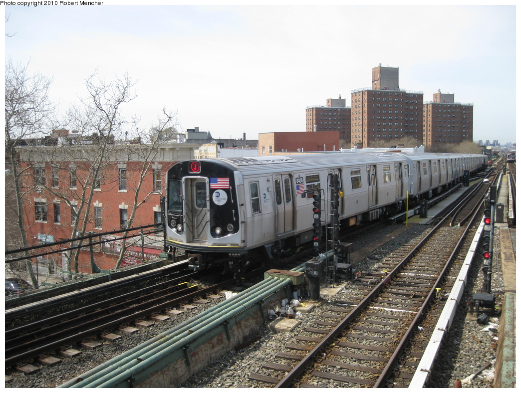 (282k, 1044x788)<br><b>Country:</b> United States<br><b>City:</b> New York<br><b>System:</b> New York City Transit<br><b>Line:</b> BMT Nassau Street/Jamaica Line<br><b>Location:</b> Broadway/East New York (Broadway Junction) <br><b>Route:</b> J<br><b>Car:</b> R-160A-1 (Alstom, 2005-2008, 4 car sets)  8406 <br><b>Photo by:</b> Robert Mencher<br><b>Date:</b> 4/3/2010<br><b>Viewed (this week/total):</b> 1 / 747