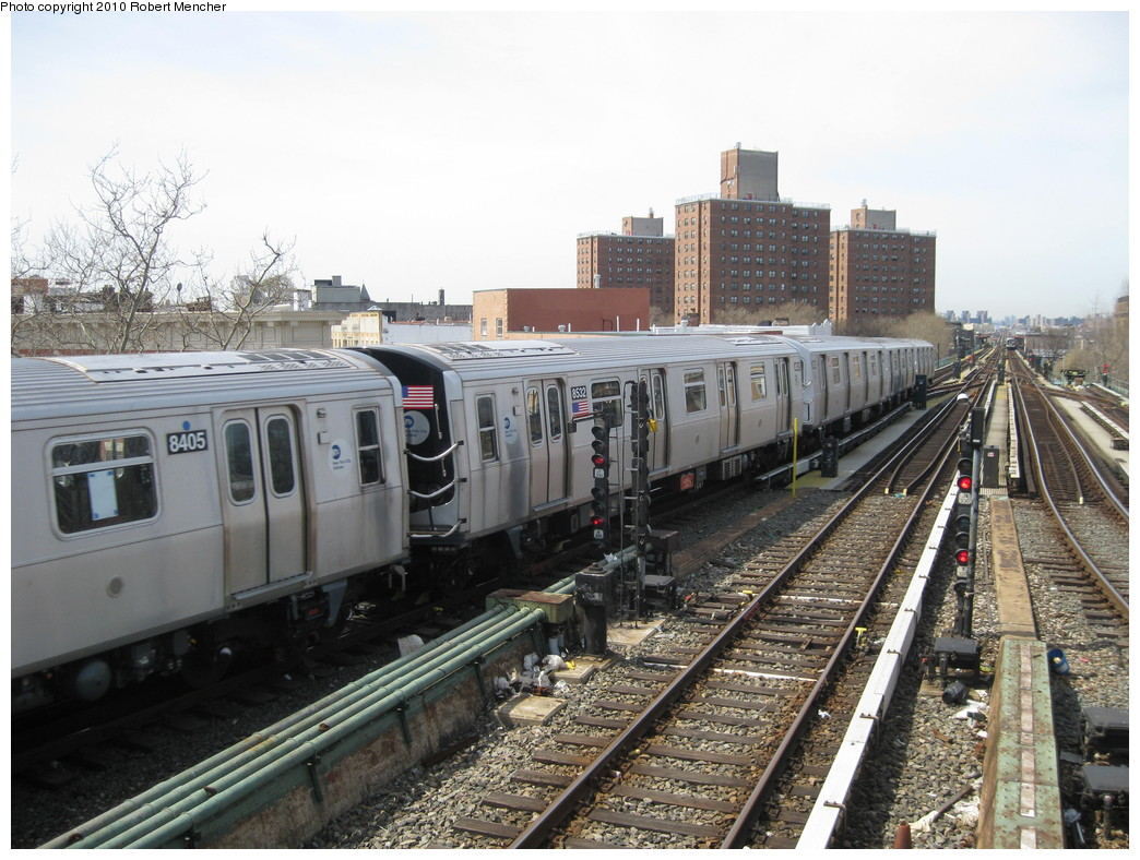 (249k, 1044x788)<br><b>Country:</b> United States<br><b>City:</b> New York<br><b>System:</b> New York City Transit<br><b>Line:</b> BMT Nassau Street/Jamaica Line<br><b>Location:</b> Broadway/East New York (Broadway Junction) <br><b>Route:</b> J<br><b>Car:</b> R-160A-1 (Alstom, 2005-2008, 4 car sets)  8532 <br><b>Photo by:</b> Robert Mencher<br><b>Date:</b> 4/3/2010<br><b>Viewed (this week/total):</b> 0 / 911