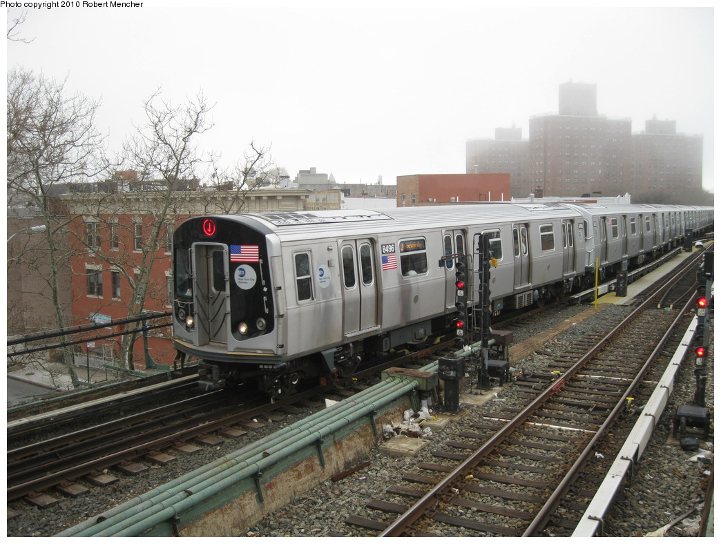 (250k, 1044x788)<br><b>Country:</b> United States<br><b>City:</b> New York<br><b>System:</b> New York City Transit<br><b>Line:</b> BMT Nassau Street/Jamaica Line<br><b>Location:</b> Broadway/East New York (Broadway Junction) <br><b>Route:</b> J<br><b>Car:</b> R-160A-1 (Alstom, 2005-2008, 4 car sets)  8496 <br><b>Photo by:</b> Robert Mencher<br><b>Date:</b> 4/3/2010<br><b>Viewed (this week/total):</b> 1 / 727