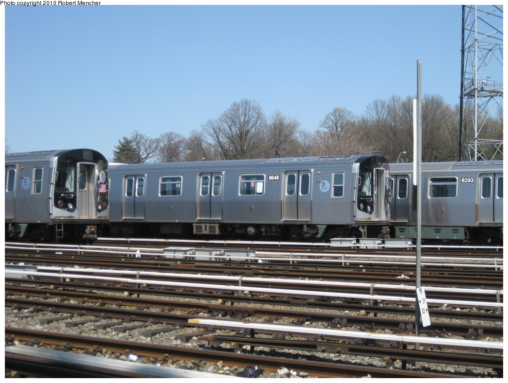 (233k, 1044x788)<br><b>Country:</b> United States<br><b>City:</b> New York<br><b>System:</b> New York City Transit<br><b>Location:</b> East New York Yard/Shops<br><b>Car:</b> R-160A-1 (Alstom, 2005-2008, 4 car sets)  8648 <br><b>Photo by:</b> Robert Mencher<br><b>Date:</b> 4/4/2010<br><b>Viewed (this week/total):</b> 0 / 686
