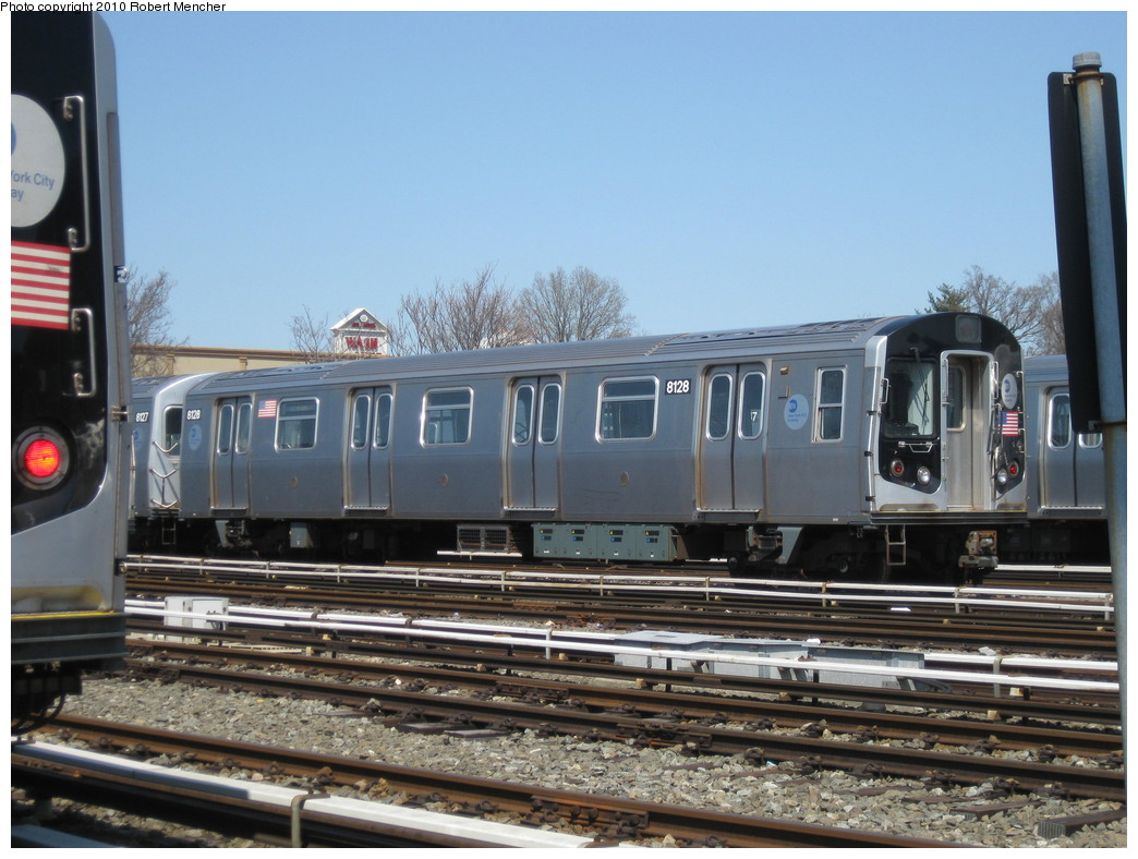 (218k, 1044x788)<br><b>Country:</b> United States<br><b>City:</b> New York<br><b>System:</b> New York City Transit<br><b>Location:</b> East New York Yard/Shops<br><b>Car:</b> R-143 (Kawasaki, 2001-2002) 8128 <br><b>Photo by:</b> Robert Mencher<br><b>Date:</b> 4/4/2010<br><b>Viewed (this week/total):</b> 0 / 731