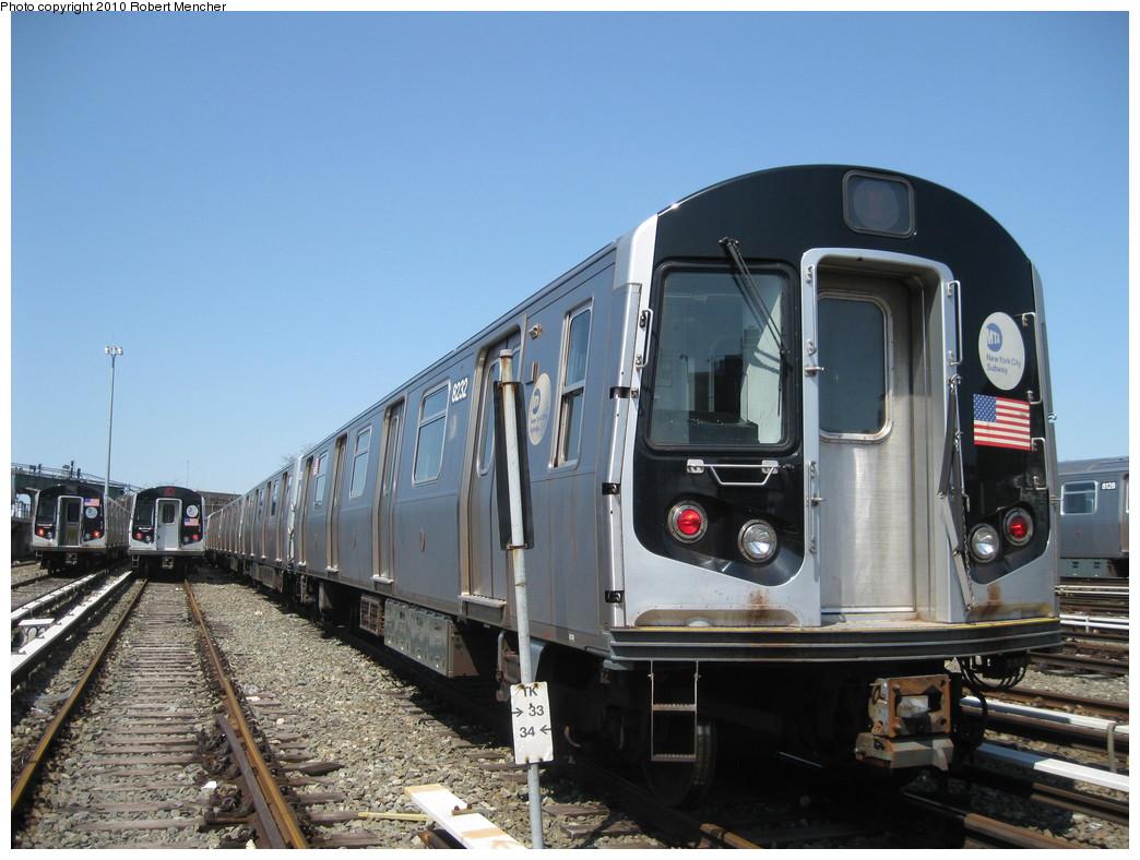 (211k, 1044x788)<br><b>Country:</b> United States<br><b>City:</b> New York<br><b>System:</b> New York City Transit<br><b>Location:</b> East New York Yard/Shops<br><b>Car:</b> R-143 (Kawasaki, 2001-2002) 8232 <br><b>Photo by:</b> Robert Mencher<br><b>Date:</b> 4/4/2010<br><b>Viewed (this week/total):</b> 0 / 660