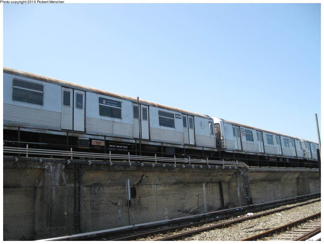 (177k, 1044x788)<br><b>Country:</b> United States<br><b>City:</b> New York<br><b>System:</b> New York City Transit<br><b>Location:</b> East New York Yard/Shops<br><b>Car:</b> R-42 (St. Louis, 1969-1970)  4838 <br><b>Photo by:</b> Robert Mencher<br><b>Date:</b> 4/4/2010<br><b>Viewed (this week/total):</b> 1 / 719