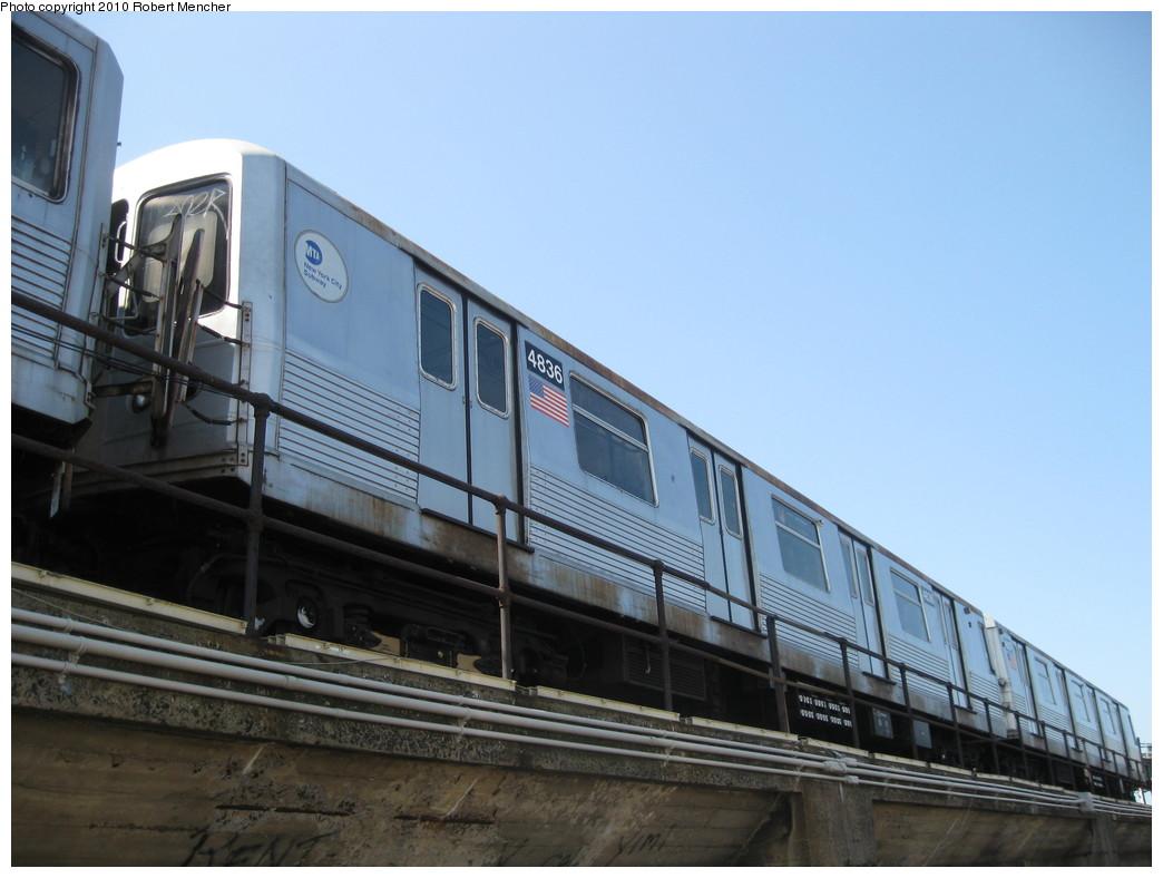 (178k, 1044x788)<br><b>Country:</b> United States<br><b>City:</b> New York<br><b>System:</b> New York City Transit<br><b>Location:</b> East New York Yard/Shops<br><b>Car:</b> R-42 (St. Louis, 1969-1970)  4836 <br><b>Photo by:</b> Robert Mencher<br><b>Date:</b> 4/4/2010<br><b>Viewed (this week/total):</b> 0 / 597