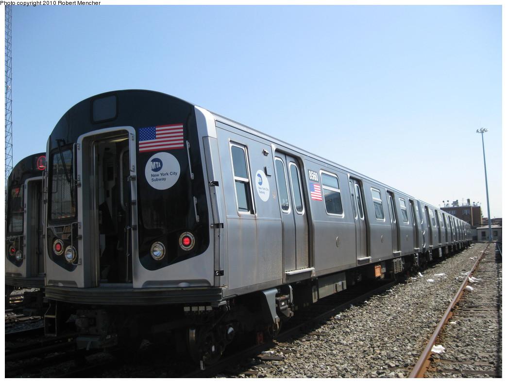 (191k, 1044x788)<br><b>Country:</b> United States<br><b>City:</b> New York<br><b>System:</b> New York City Transit<br><b>Location:</b> East New York Yard/Shops<br><b>Car:</b> R-160A-1 (Alstom, 2005-2008, 4 car sets)  8560 <br><b>Photo by:</b> Robert Mencher<br><b>Date:</b> 4/4/2010<br><b>Viewed (this week/total):</b> 0 / 700
