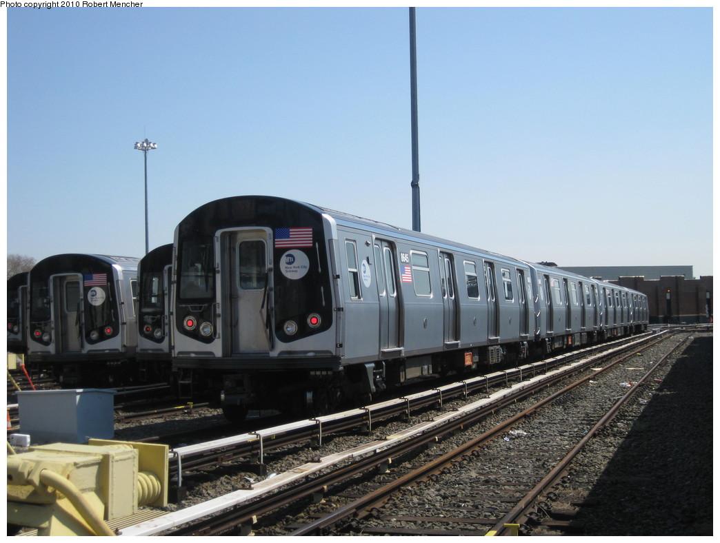 (189k, 1044x788)<br><b>Country:</b> United States<br><b>City:</b> New York<br><b>System:</b> New York City Transit<br><b>Location:</b> East New York Yard/Shops<br><b>Car:</b> R-160A-1 (Alstom, 2005-2008, 4 car sets)  8645 <br><b>Photo by:</b> Robert Mencher<br><b>Date:</b> 4/4/2010<br><b>Viewed (this week/total):</b> 0 / 600