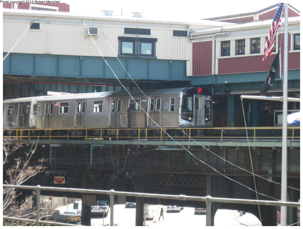 (217k, 1044x788)<br><b>Country:</b> United States<br><b>City:</b> New York<br><b>System:</b> New York City Transit<br><b>Line:</b> BMT Nassau Street/Jamaica Line<br><b>Location:</b> Broadway/East New York (Broadway Junction) <br><b>Route:</b> J<br><b>Car:</b> R-160A-1 (Alstom, 2005-2008, 4 car sets)  8449 <br><b>Photo by:</b> Robert Mencher<br><b>Date:</b> 4/4/2010<br><b>Viewed (this week/total):</b> 1 / 1227