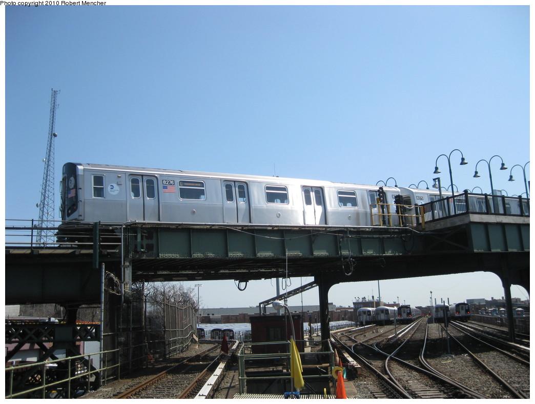 (195k, 1044x788)<br><b>Country:</b> United States<br><b>City:</b> New York<br><b>System:</b> New York City Transit<br><b>Line:</b> BMT Canarsie Line<br><b>Location:</b> Broadway Junction <br><b>Route:</b> L<br><b>Car:</b> R-143 (Kawasaki, 2001-2002) 8276 <br><b>Photo by:</b> Robert Mencher<br><b>Date:</b> 4/4/2010<br><b>Viewed (this week/total):</b> 0 / 1148