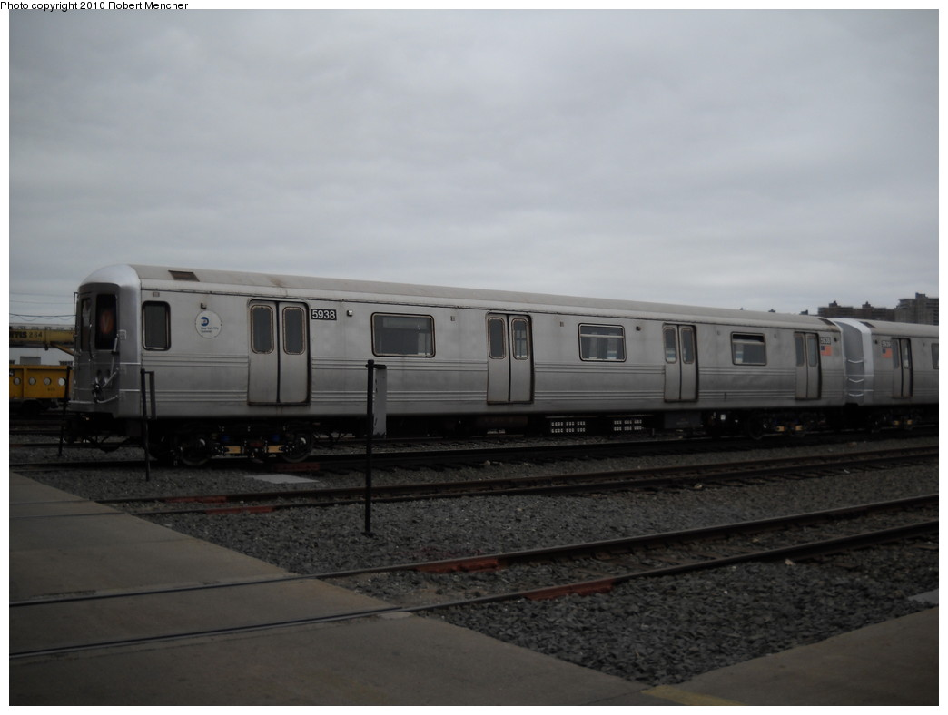 (158k, 1044x788)<br><b>Country:</b> United States<br><b>City:</b> New York<br><b>System:</b> New York City Transit<br><b>Location:</b> Coney Island Yard<br><b>Car:</b> R-46 (Pullman-Standard, 1974-75) 5938 <br><b>Photo by:</b> Robert Mencher<br><b>Date:</b> 4/16/2010<br><b>Viewed (this week/total):</b> 0 / 550