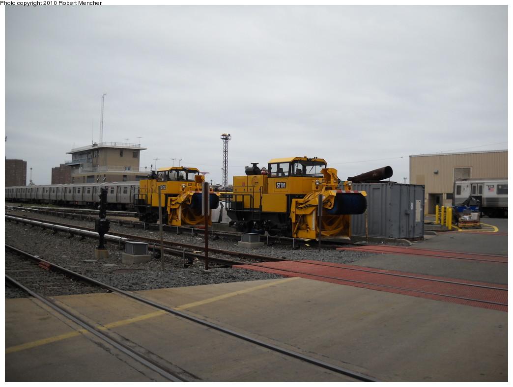 (187k, 1044x788)<br><b>Country:</b> United States<br><b>City:</b> New York<br><b>System:</b> New York City Transit<br><b>Location:</b> Coney Island Yard<br><b>Car:</b> R-146 Snow Removal Car ST102/ST101 <br><b>Photo by:</b> Robert Mencher<br><b>Date:</b> 4/16/2010<br><b>Viewed (this week/total):</b> 0 / 1197