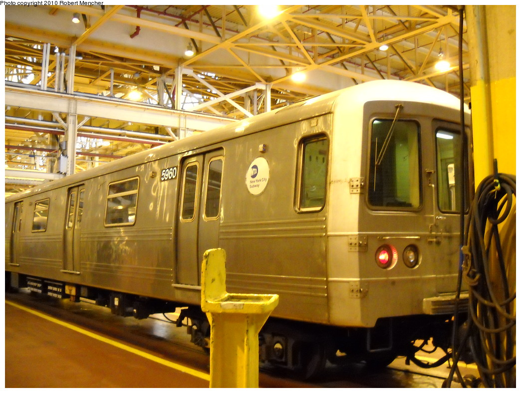 (277k, 1044x788)<br><b>Country:</b> United States<br><b>City:</b> New York<br><b>System:</b> New York City Transit<br><b>Location:</b> Coney Island Shop/Overhaul & Repair Shop<br><b>Car:</b> R-46 (Pullman-Standard, 1974-75) 5960 <br><b>Photo by:</b> Robert Mencher<br><b>Date:</b> 4/16/2010<br><b>Viewed (this week/total):</b> 0 / 658