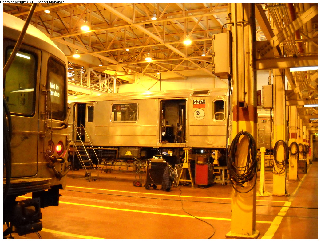 (323k, 1044x788)<br><b>Country:</b> United States<br><b>City:</b> New York<br><b>System:</b> New York City Transit<br><b>Location:</b> Coney Island Shop/Overhaul & Repair Shop<br><b>Car:</b> R-62A (Bombardier, 1984-1987)  2279 <br><b>Photo by:</b> Robert Mencher<br><b>Date:</b> 4/16/2010<br><b>Viewed (this week/total):</b> 0 / 710