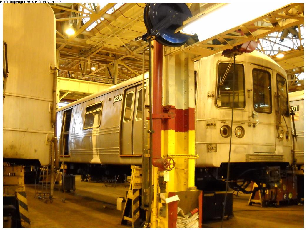 (289k, 1044x788)<br><b>Country:</b> United States<br><b>City:</b> New York<br><b>System:</b> New York City Transit<br><b>Location:</b> Coney Island Shop/Overhaul & Repair Shop<br><b>Car:</b> R-46 (Pullman-Standard, 1974-75) 6238 <br><b>Photo by:</b> Robert Mencher<br><b>Date:</b> 4/16/2010<br><b>Viewed (this week/total):</b> 0 / 496