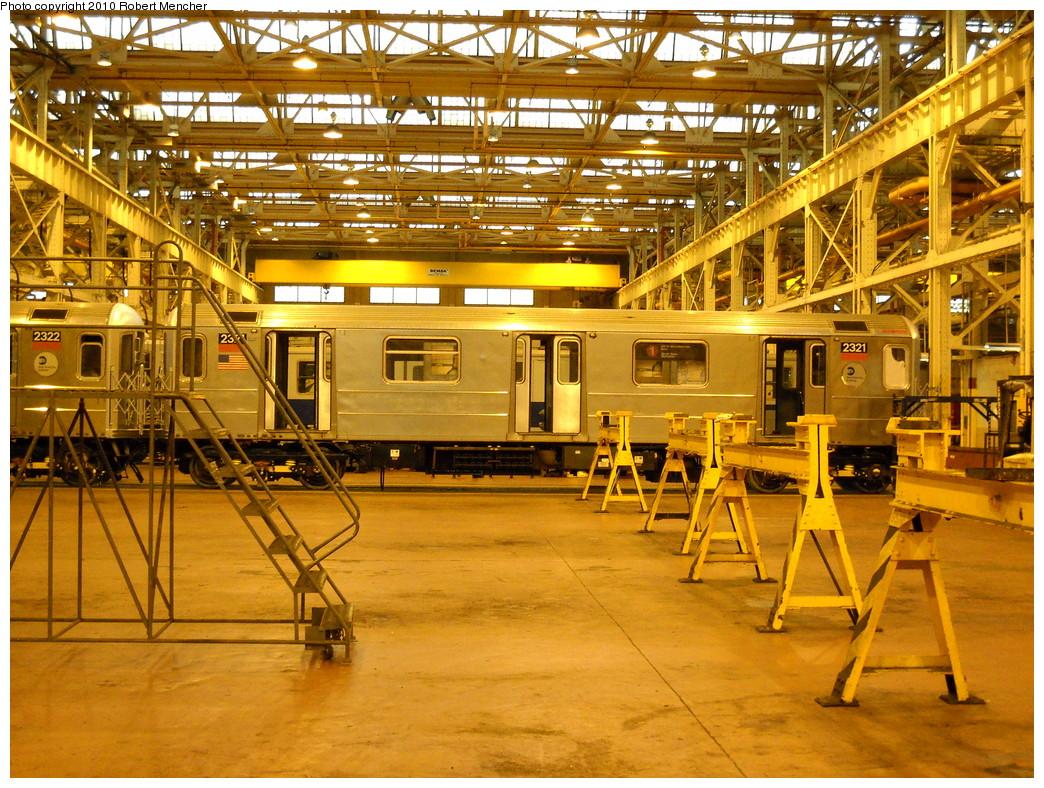 (365k, 1044x788)<br><b>Country:</b> United States<br><b>City:</b> New York<br><b>System:</b> New York City Transit<br><b>Location:</b> Coney Island Shop/Overhaul & Repair Shop<br><b>Car:</b> R-62A (Bombardier, 1984-1987)  2321 <br><b>Photo by:</b> Robert Mencher<br><b>Date:</b> 4/16/2010<br><b>Viewed (this week/total):</b> 0 / 601