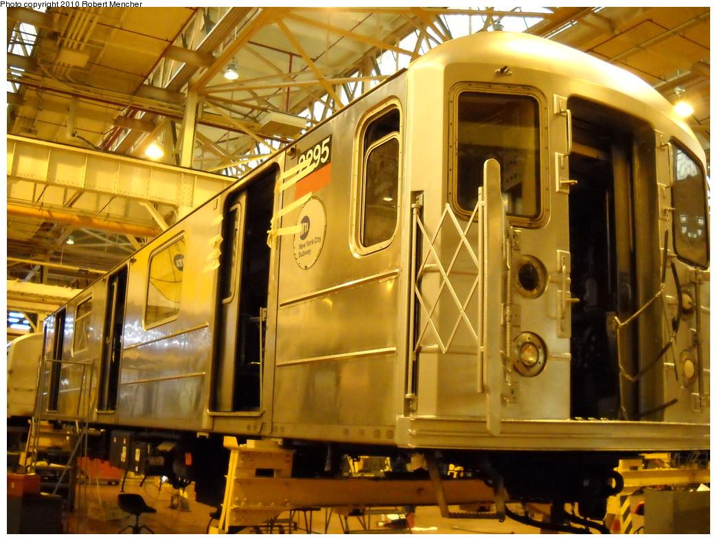 (294k, 1044x788)<br><b>Country:</b> United States<br><b>City:</b> New York<br><b>System:</b> New York City Transit<br><b>Location:</b> Coney Island Shop/Overhaul & Repair Shop<br><b>Car:</b> R-62A (Bombardier, 1984-1987)  2295 <br><b>Photo by:</b> Robert Mencher<br><b>Date:</b> 4/16/2010<br><b>Viewed (this week/total):</b> 2 / 626