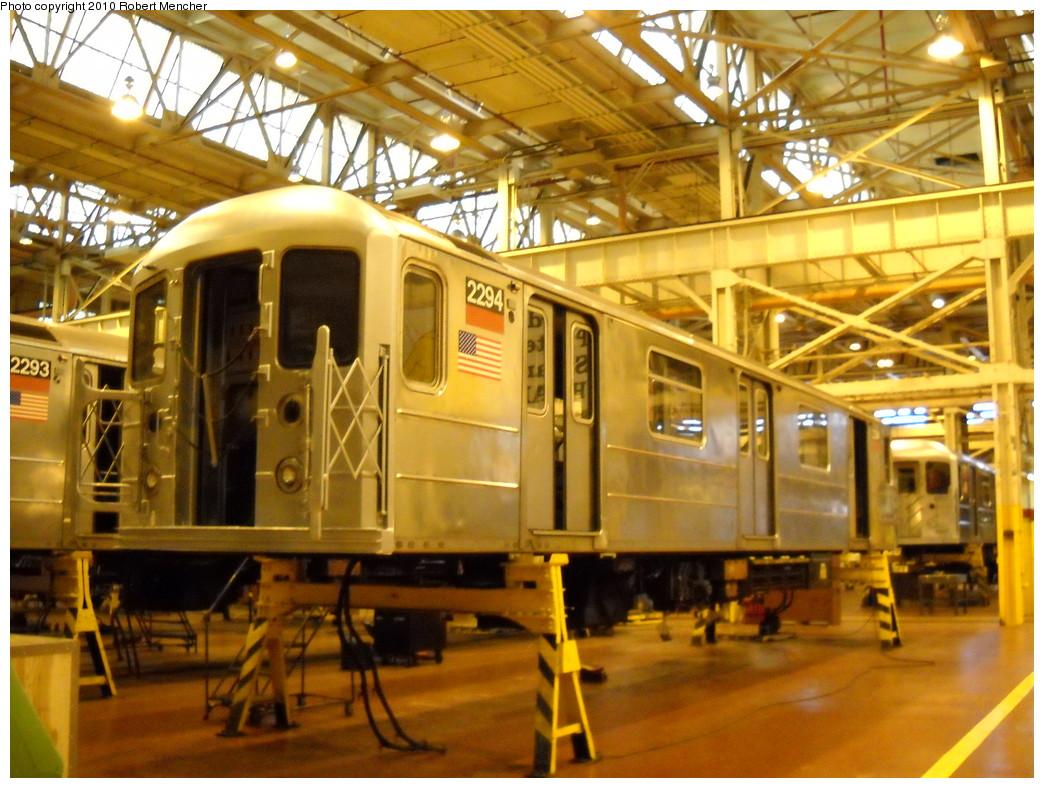 (282k, 1044x788)<br><b>Country:</b> United States<br><b>City:</b> New York<br><b>System:</b> New York City Transit<br><b>Location:</b> Coney Island Shop/Overhaul & Repair Shop<br><b>Car:</b> R-62A (Bombardier, 1984-1987)  2294 <br><b>Photo by:</b> Robert Mencher<br><b>Date:</b> 4/16/2010<br><b>Viewed (this week/total):</b> 0 / 556