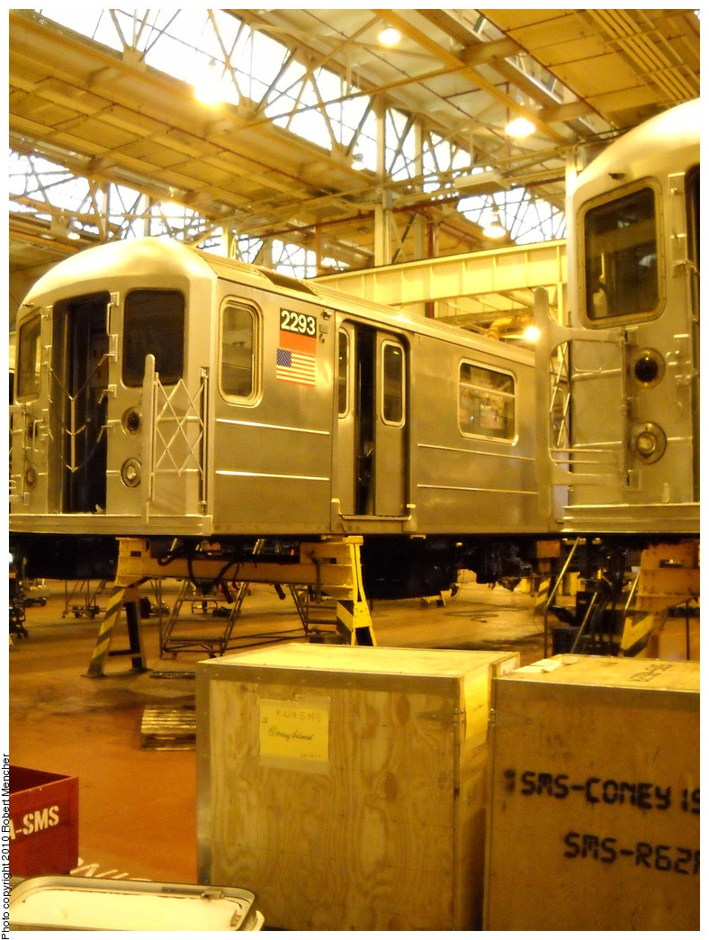 (281k, 788x1044)<br><b>Country:</b> United States<br><b>City:</b> New York<br><b>System:</b> New York City Transit<br><b>Location:</b> Coney Island Shop/Overhaul & Repair Shop<br><b>Car:</b> R-62A (Bombardier, 1984-1987)  2293 <br><b>Photo by:</b> Robert Mencher<br><b>Date:</b> 4/16/2010<br><b>Viewed (this week/total):</b> 0 / 480
