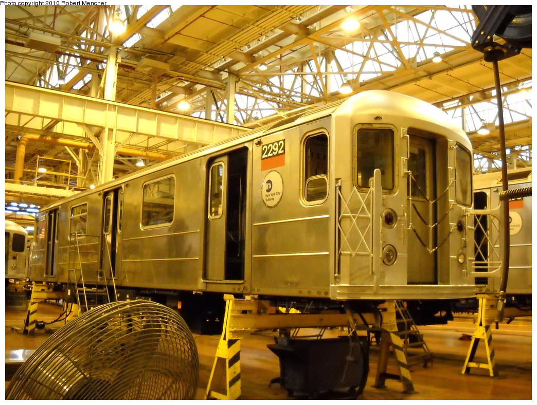 (338k, 1044x788)<br><b>Country:</b> United States<br><b>City:</b> New York<br><b>System:</b> New York City Transit<br><b>Location:</b> Coney Island Shop/Overhaul & Repair Shop<br><b>Car:</b> R-62A (Bombardier, 1984-1987)  2292 <br><b>Photo by:</b> Robert Mencher<br><b>Date:</b> 4/16/2010<br><b>Viewed (this week/total):</b> 0 / 550