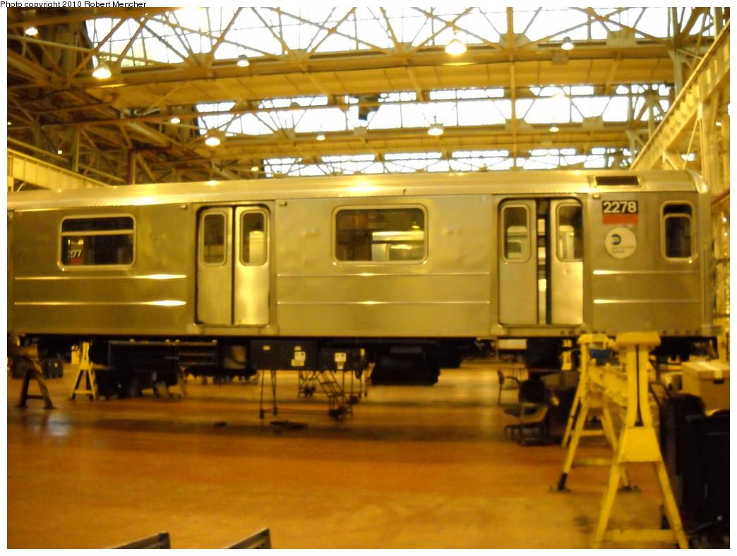 (251k, 1044x788)<br><b>Country:</b> United States<br><b>City:</b> New York<br><b>System:</b> New York City Transit<br><b>Location:</b> Coney Island Shop/Overhaul & Repair Shop<br><b>Car:</b> R-62A (Bombardier, 1984-1987)  2278 <br><b>Photo by:</b> Robert Mencher<br><b>Date:</b> 4/16/2010<br><b>Viewed (this week/total):</b> 0 / 524