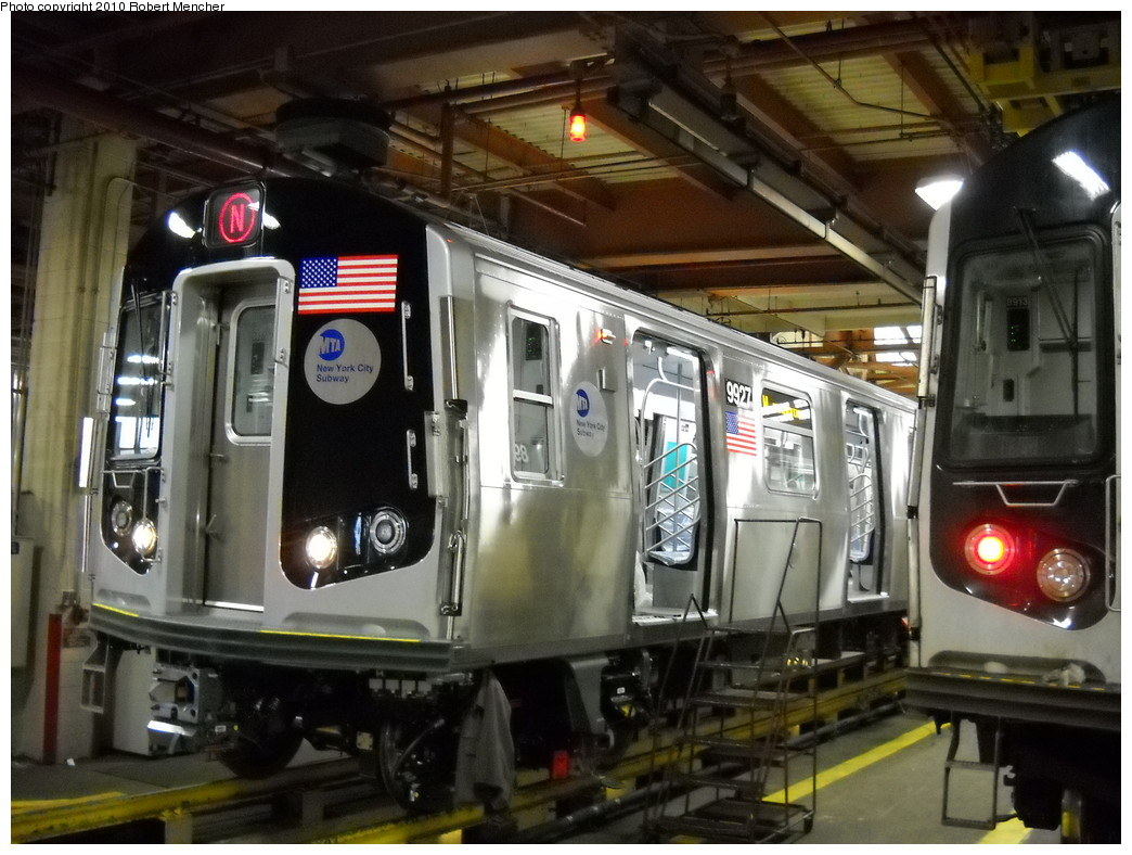 (250k, 1044x788)<br><b>Country:</b> United States<br><b>City:</b> New York<br><b>System:</b> New York City Transit<br><b>Location:</b> Coney Island Shop/Maint. & Inspection Shop<br><b>Car:</b> R-160B (Option 2) (Kawasaki, 2009)  9927 <br><b>Photo by:</b> Robert Mencher<br><b>Date:</b> 4/16/2010<br><b>Viewed (this week/total):</b> 0 / 1361