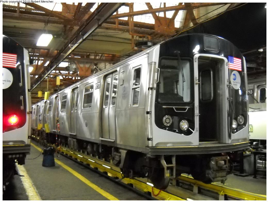 (256k, 1044x788)<br><b>Country:</b> United States<br><b>City:</b> New York<br><b>System:</b> New York City Transit<br><b>Location:</b> Coney Island Shop/Maint. & Inspection Shop<br><b>Car:</b> R-160B (Kawasaki, 2005-2008)  8773 <br><b>Photo by:</b> Robert Mencher<br><b>Date:</b> 4/16/2010<br><b>Viewed (this week/total):</b> 0 / 845