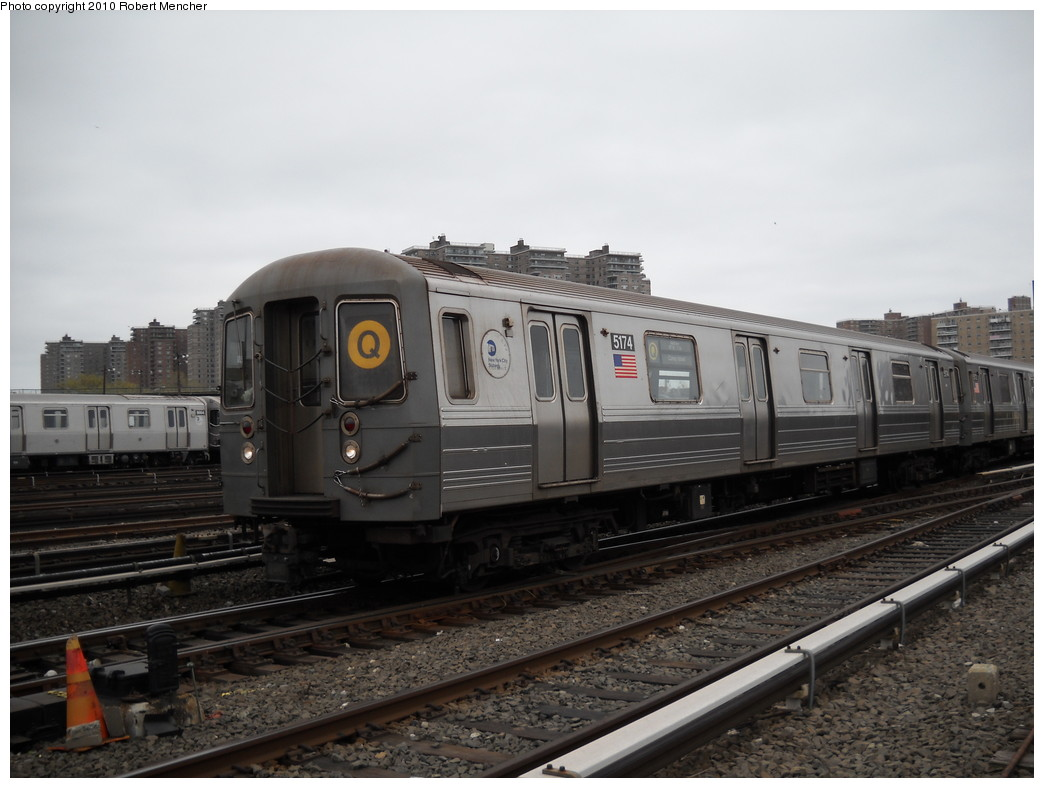 (205k, 1044x788)<br><b>Country:</b> United States<br><b>City:</b> New York<br><b>System:</b> New York City Transit<br><b>Location:</b> Coney Island Yard<br><b>Car:</b> R-68A (Kawasaki, 1988-1989)  5174 <br><b>Photo by:</b> Robert Mencher<br><b>Date:</b> 4/16/2010<br><b>Viewed (this week/total):</b> 1 / 768